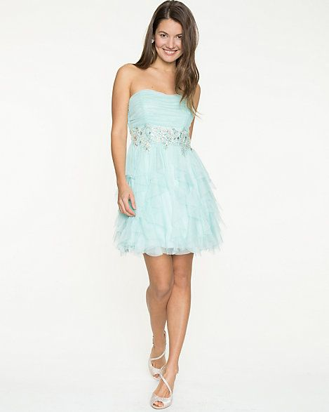 Sparkle Mesh  Strapless Dress