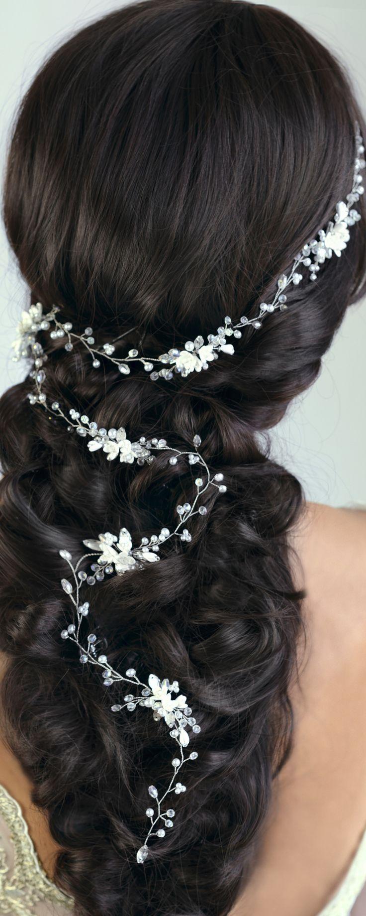 bridal hair vine, wedding hair vine, gold hair vine, pearl hair vine, flower hair vine, hair vine, long hair vine, bohemian bridal headpiece by TopGracia