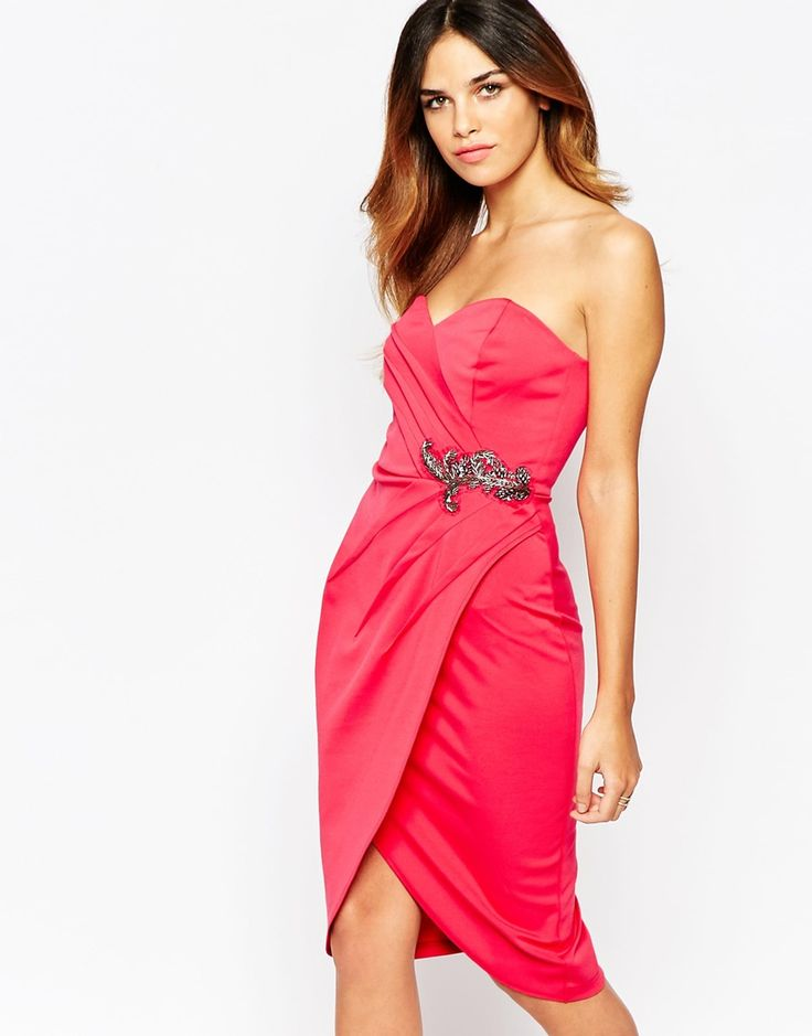Little Mistress Sweetheart Pencil Dress With Wrap Skirt And Embellished Waist