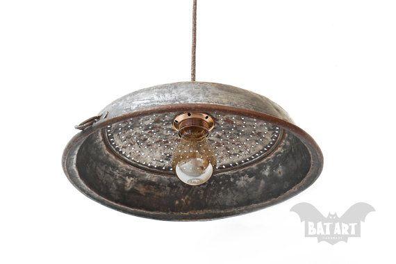Vintage Colander Ceiling Light  Bronze colander Hanging by BatLab