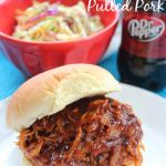 Crock Pot Dr. Pepper Pulled Pork. Made this with a 1.5 lb boneless pork loin. Came out a little dry. But then again I didn't drown it in BBQ sauce either. Just 2 TBLSP for 4 oz of meat I ate on a wheat sandwich thin. Hubs liked it though.