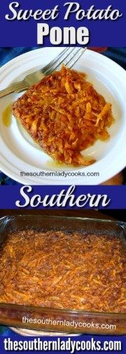 Sweet potato pone is made with sweet potatoes and molasses and is traditionally soul food. It can be served as a dessert or side dish.