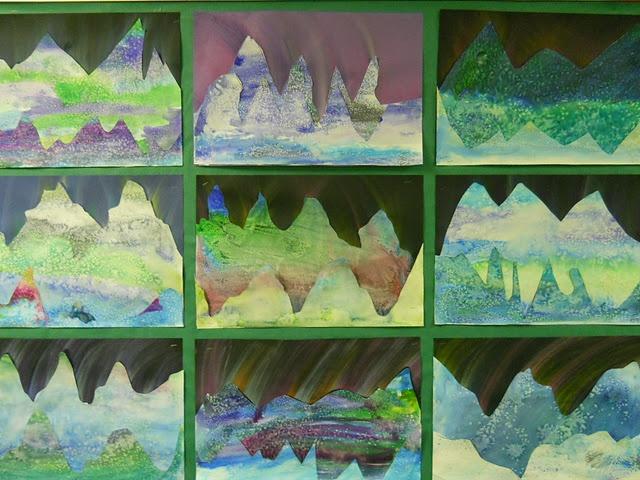 Aurora Bouralis art project with wc, salt, pastels