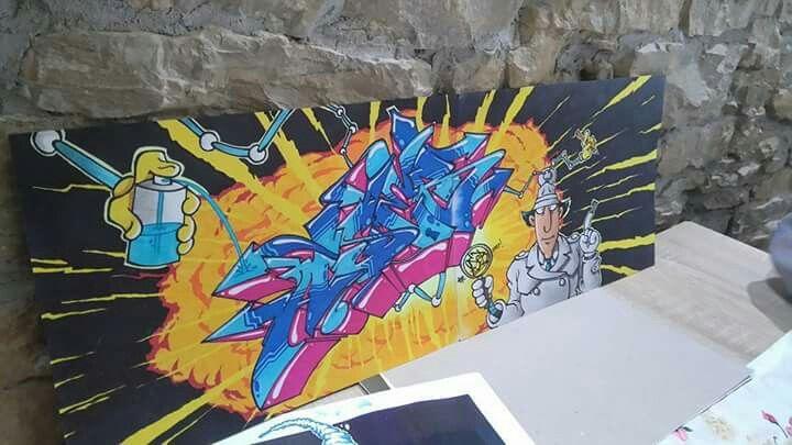Inspector ASEB.  :-D  Artwork by AsebOner.  Peace! #inspectorgadget # graffiti #art #artwork #AsebOner