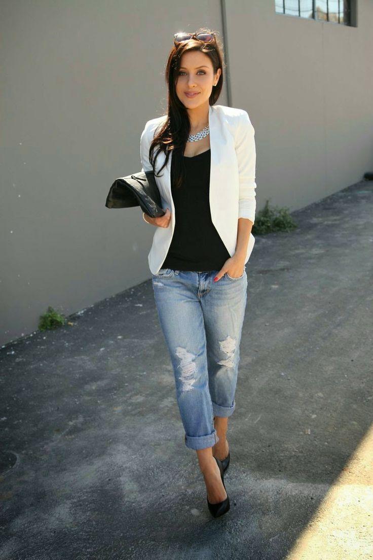 17 meilleures id es propos de tenues avec blazer blanc. Black Bedroom Furniture Sets. Home Design Ideas