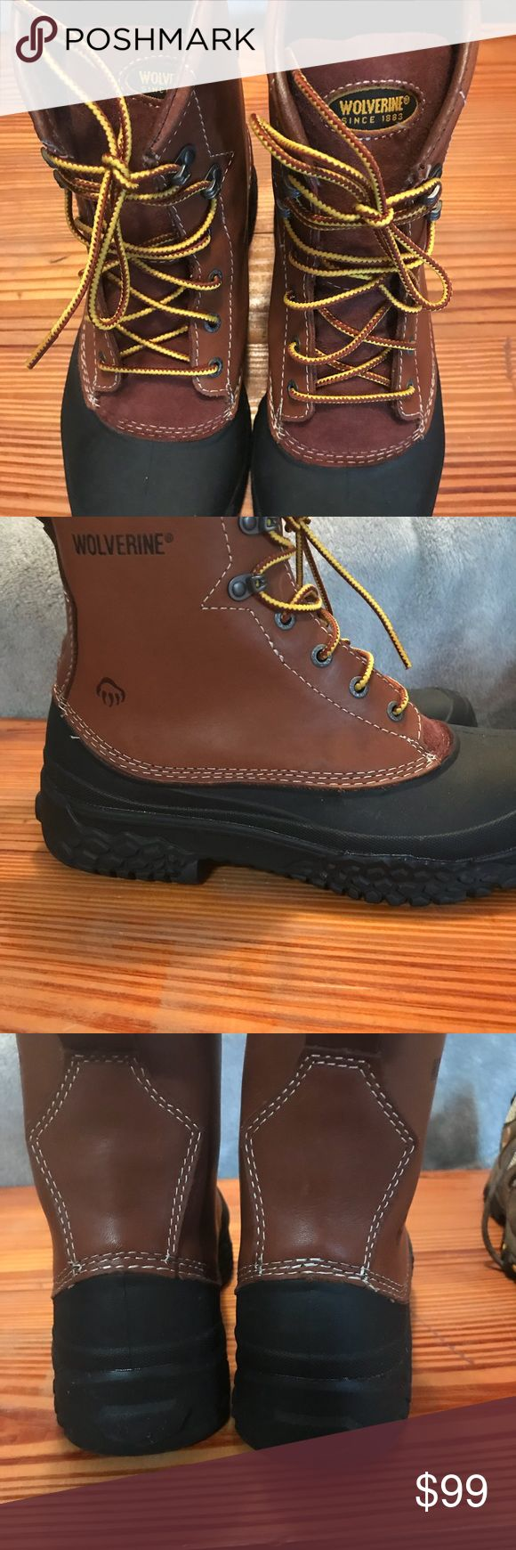 """Men's wolverine steel toed waterproof boots Men's Wolverine 6"""" Work Boots Men's size 8.5  Slip-resistant rubber outsole Moisture wicking mesh liner  Removable polyurethane cushioning footbed  Waterproof full-grain leather with SwampMonster shell Steel toe rated ASTM F2413-11 M1/75 C/75 EH New without box Never been worn Wolverine Shoes Boots"""