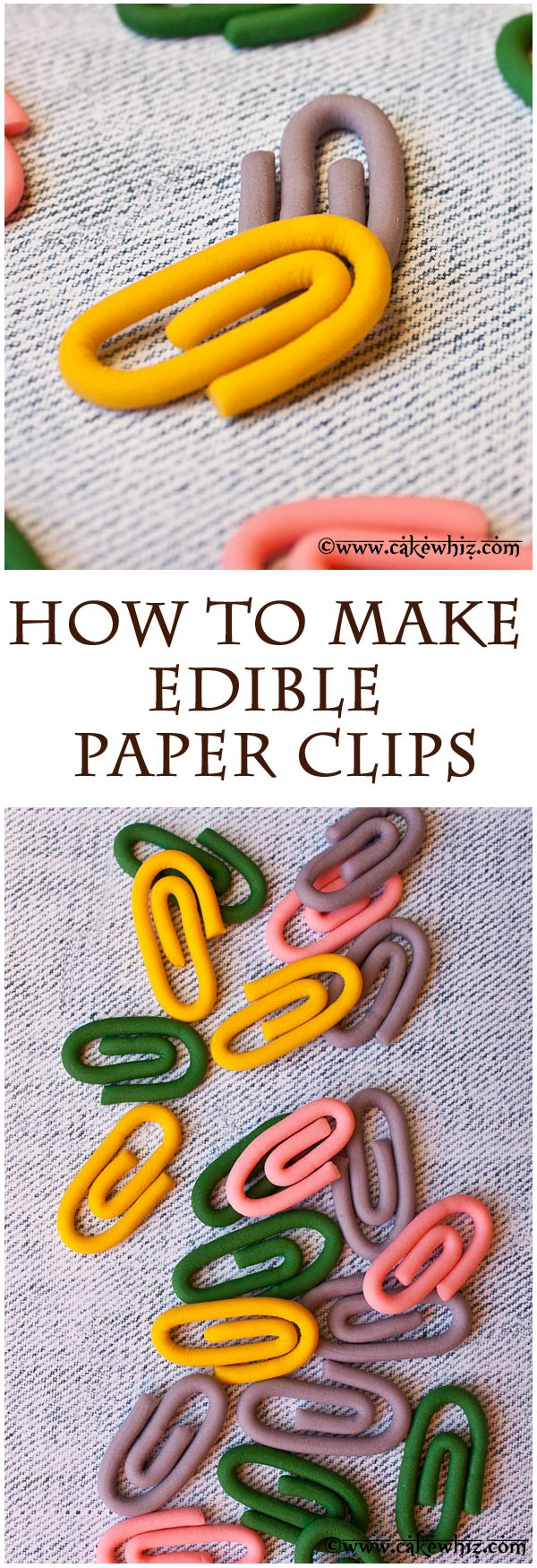 How to make SUPER EASY edible fondant paper clips. Great for decorating school or office themed cakes and cupcakes! From cakewhiz.com