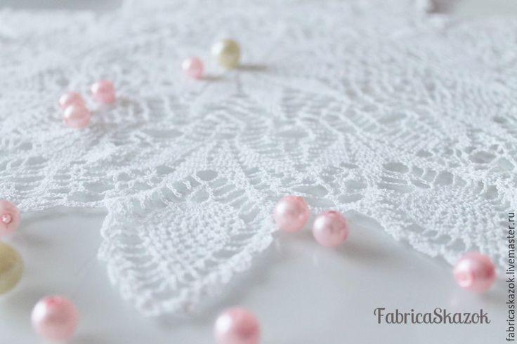 Купить Кружевная салфетка Взбитые сливки - белый, декор для интерьера, салфетка крючком, салфетка