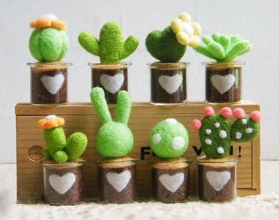 Cute Little Wool Plants Needle Felting DIY Kit by APHandcrafts