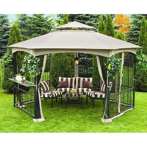 Walmart Sunjoy Hexagon Gazebo - I like this but would be afraid the wind would take it :)