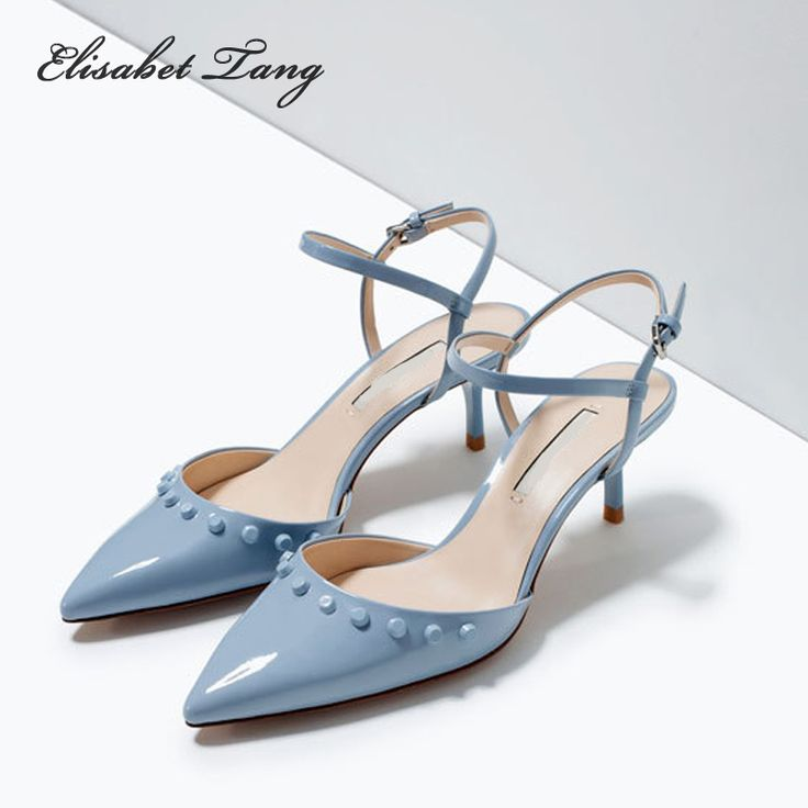 Sexy Point Toe Patent Leahter High Heels Pumps Shoes Rivets Woman's Red Sandals Heels Shoes Wedding Shoes 5.5cm 34-40 Size