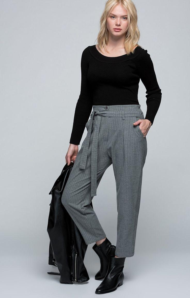 Gri | Çizgili Pantolon