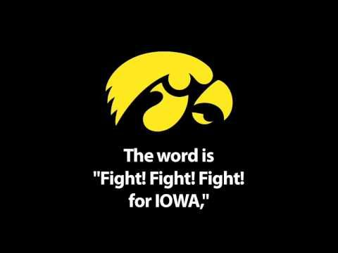 Iowa Fight Song. This was written by Meredith Wilson in 1950. Kinnick Stadium. Iowa City. Football. Hawkeye Marching Band.