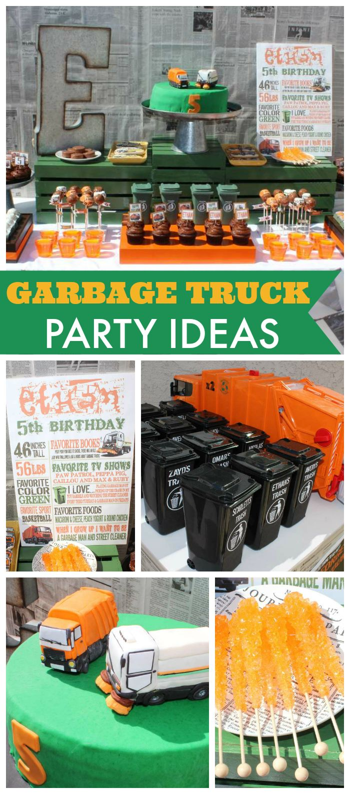 Get ready garbage truck coloring book - A Garbage Truck Boy Birthday Party With Mini Garbage Can Favors And Custom Made Garbage Trucks
