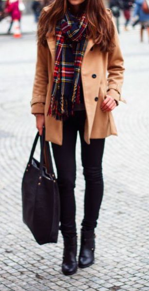 #winter #fashion / Camel peacoat, black/red plaid scarf, black skinny jeans, booties & handbag