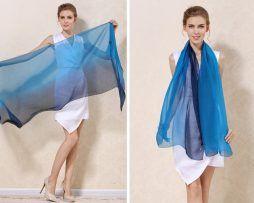 Luxusný hodvábny modro-čierny šál, rozmer 185 x 68 cm .