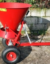 Fertiliser spreader 100 litre. The ATV spreaders can be towed or mounted on a quad bike to disperse grass seed, fertiliser onto the land to maintain the fields encouraging healthy growth. For more info: http://www.fresh-group.com/spreaders.html