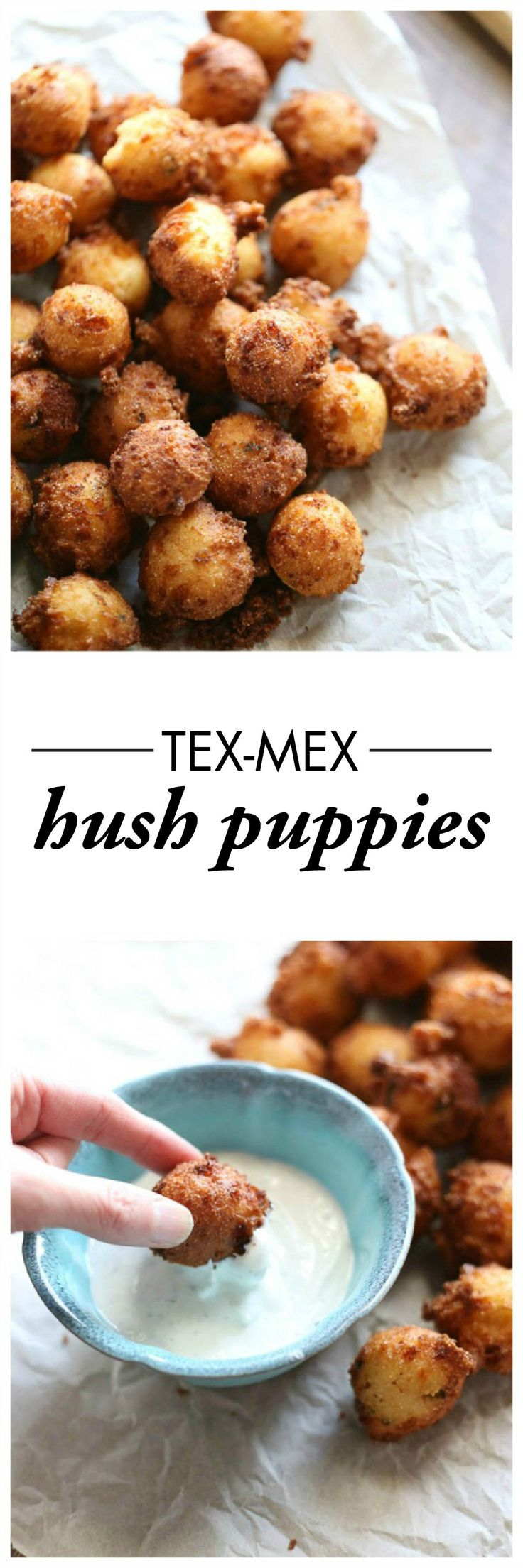 This Tex Mex Hush Puppy recipe is so fun and easy; one bite and you and your guests will be hooked!  Don't forget the buttermilk ranch dipping sauce.