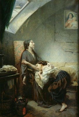 The Poverty-Stricken Family, or The Suicide, 1849 (oil on canvas) Postcards, Greetings Cards, Art Prints, Canvas, Framed Pictures, T-shirts & Wall Art by Octave Tassaert