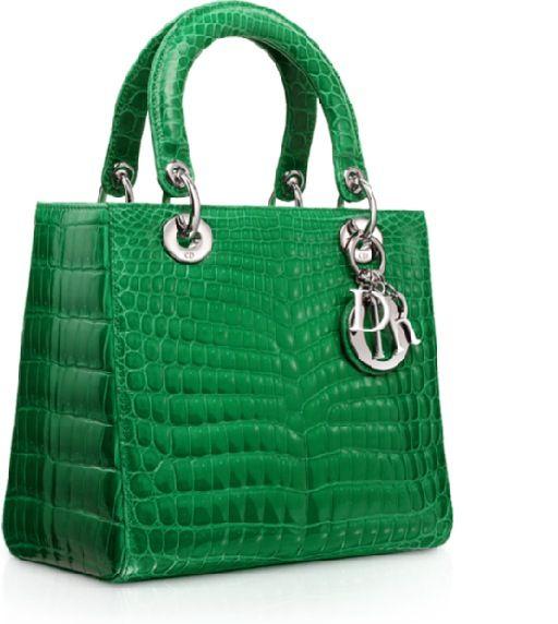 Glossy green crocodile miss dior bag