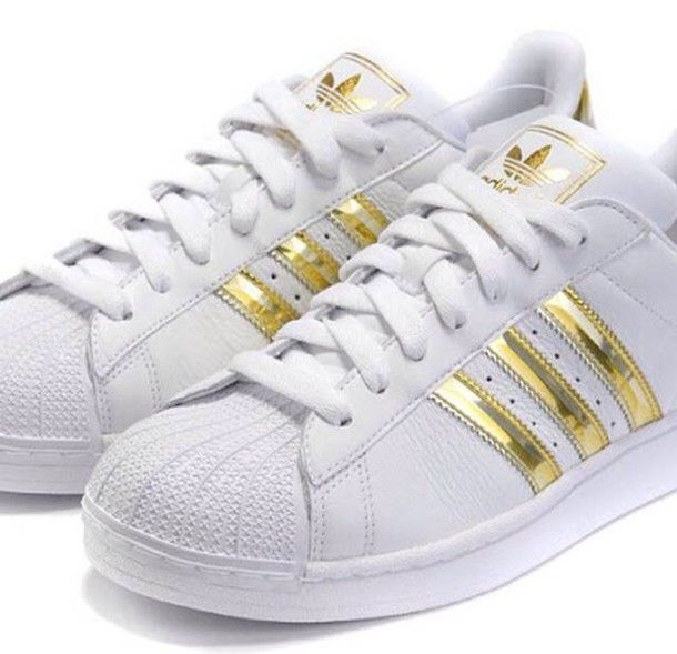 Women's adidas Originals Superstar Shoes Gold/Black/White Mr