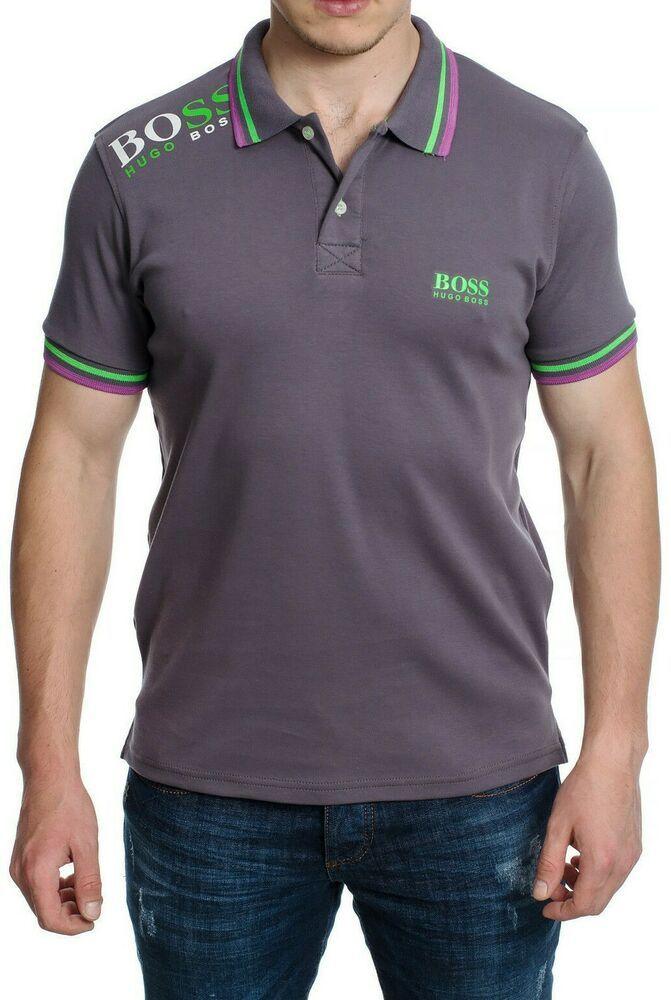 a2c094c04 Men's T-shirt Polo Shirt Hugo Boss Grey Color Short Sleeves Slim Fit Size  XXL