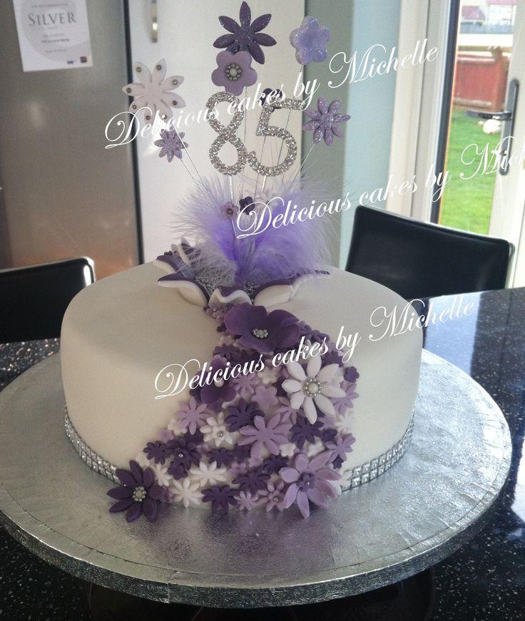 Purple flower 85th birthday cake