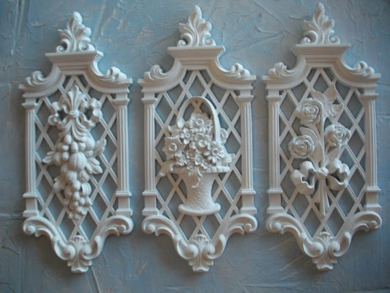 Syroco recycled shabby chic white resin wall decor plaques for Resin wall art