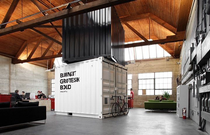 Cargo containers in offices