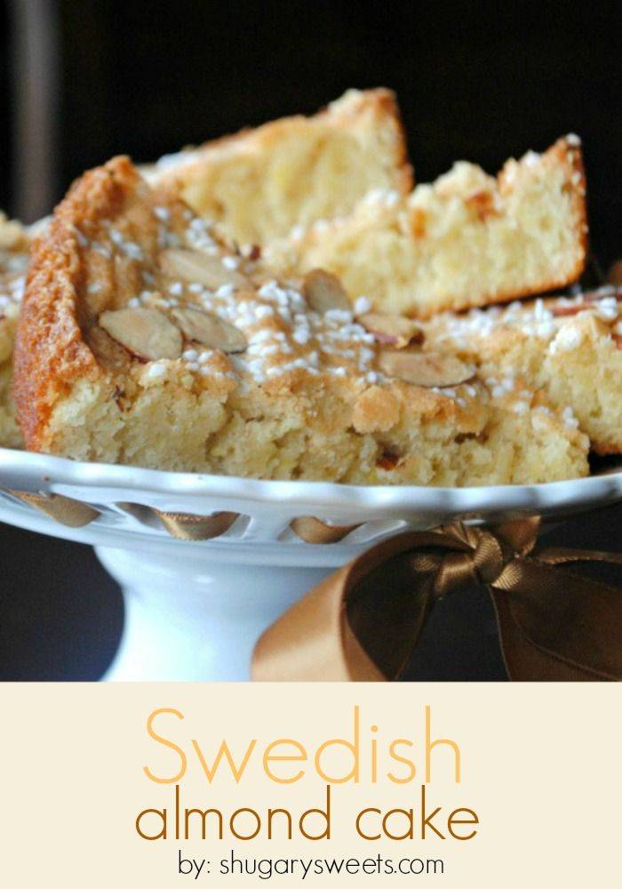 Moist, delicious Swedish Almond Cake topped with sliced almonds. Wonderful recipe for any brunch or breakfast.