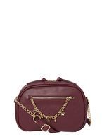 Womens Bordeaux Charm Chain Cross Body Bag- Red