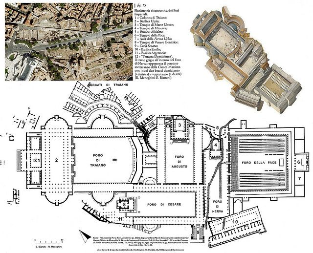 Rome - The Imperial Fora: New Aerial View, Topographical Plan & Reconstruction, c.f. Roberto Meneghini & Riccardo Santangeli Valanza...
