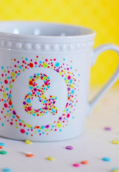 We LOVE ampersands! Learn how to create this colorful DIY polka dot mug.