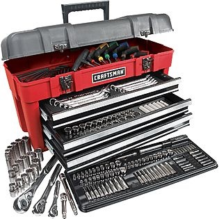 Craftsman 189-piece Mechanic's Tool Set with Tool Box Enlarge Image Craftsman Craftsman Mechanics Tool Sets Craftsman Mechanics Tool Sets All Craftsman Craftsman 189-piece Mechanic's Tool Set with Tool Box | Online only | Sears Item# 00927033000 | Model# D391170 Rating 5.0 | 3 Reviews | Write a review Reg Price: $229.99 $199.99