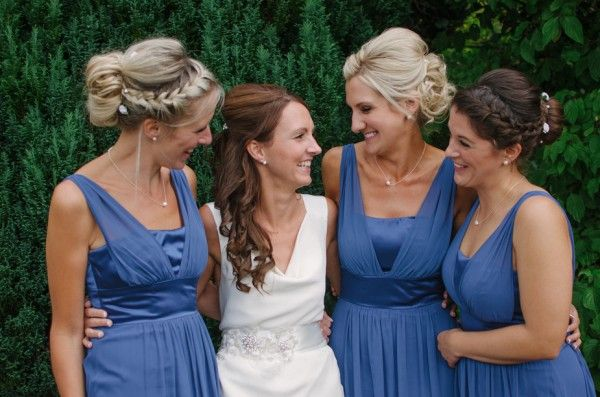Blue and White Wedding Ideas - Relaxed Country Marquee Wedding Blue Bridesmaids Plaited Braided Hair http://www.thisandthatphotography.co.uk/