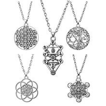 Tree Of Life Yggdrasil Flowers Pentacle Pentagram Pendant Wiccan Pagan Jewelry Tibetan Silver Manstar Star Of David Necklace(China (Mainland))