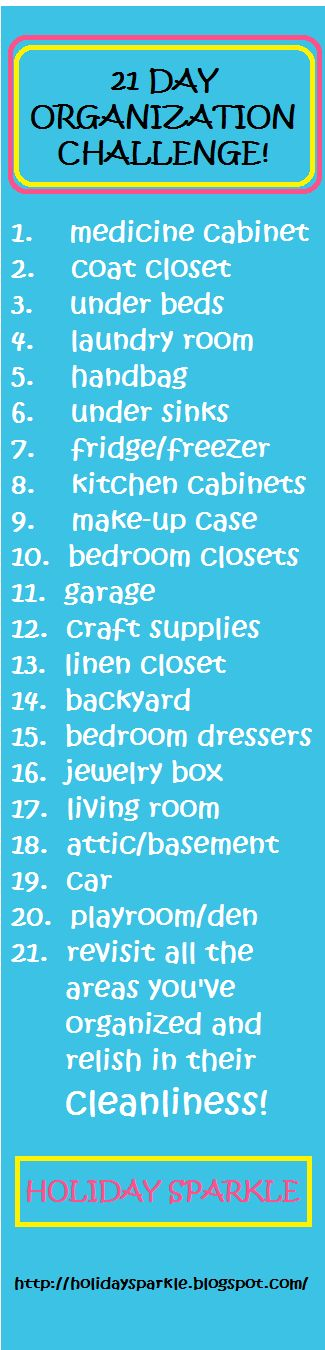21 Day Organization Challenge for the New Year! Organize your entire house in just 21 days by doing simple little tasks each day! I did all this two weeks before Christmas 2012 and while I now know where everything is and the place is tidy.....I STILL HAVE TOO MUCH STUFF lol