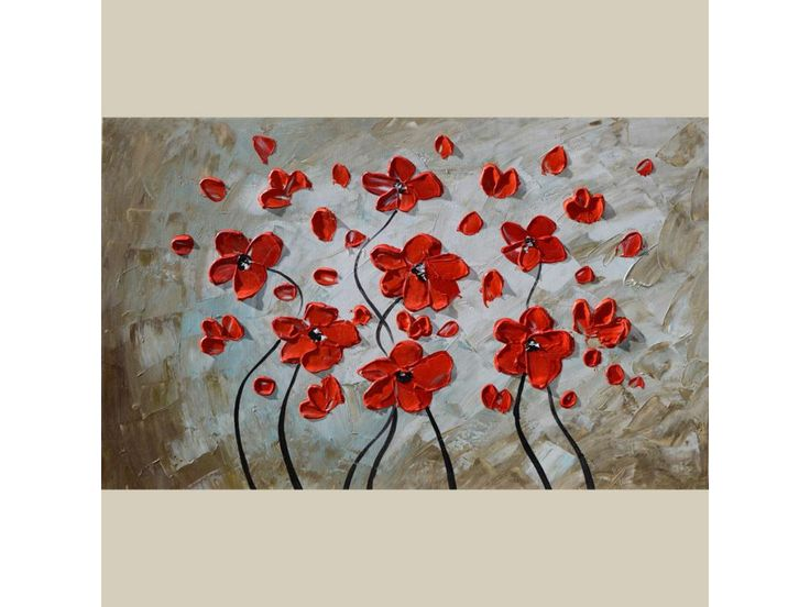 ORIGINAL Painting Dreams in Red 23 x 36 Oil Palette Knife Colorful Flowers Textured Romantic Home decor Red Brown Abstract Modern  ART by Marchella Piery