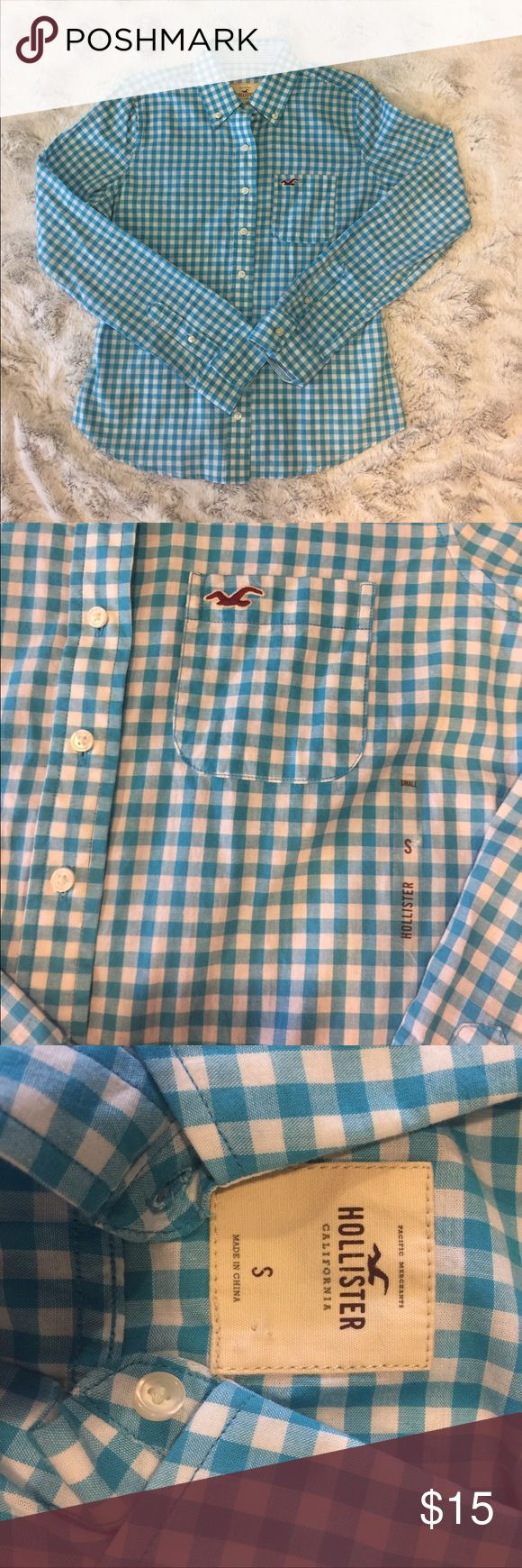 NWT Hollister Blue Checkered shirt Brand new. Smoke free. Pet free Hollister Tops Button Down Shirts