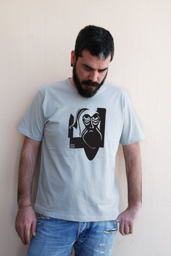 Man in beard - printed on Light Grey color - Men's 100% Organic Cotton T-Shirt - Available in S, M, L, XL & XXL - Bad Ink gift for him