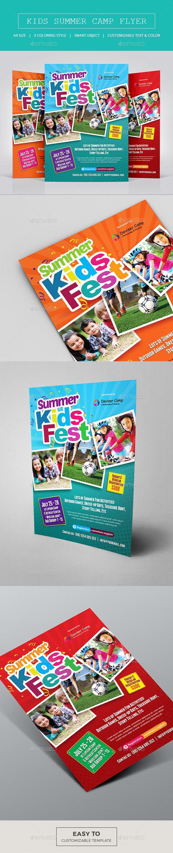Kids Summer Camp Flyer Template PSD. Download here: http://graphicriver.net/item/kids-summer-camp-flyer-/15842918?ref=ksioks