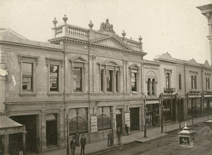 Theatre Royal, Hindley Street (north side), Adelaide, 1881 - The billboard in front of the theatre advertises George Musgrove's production of Offenbach's 'La Fille du Tambour Major', starring Nellie Stewart. This production toured Australia in the early 1800s. On the right is the ornate lamp belonging to the White Hart Hotel opposite. The near side of Miller Anderson's (second store from the right) is 41 yards west of Gresham St. The extreme left of the photograph is 2 yards east of Peel St.