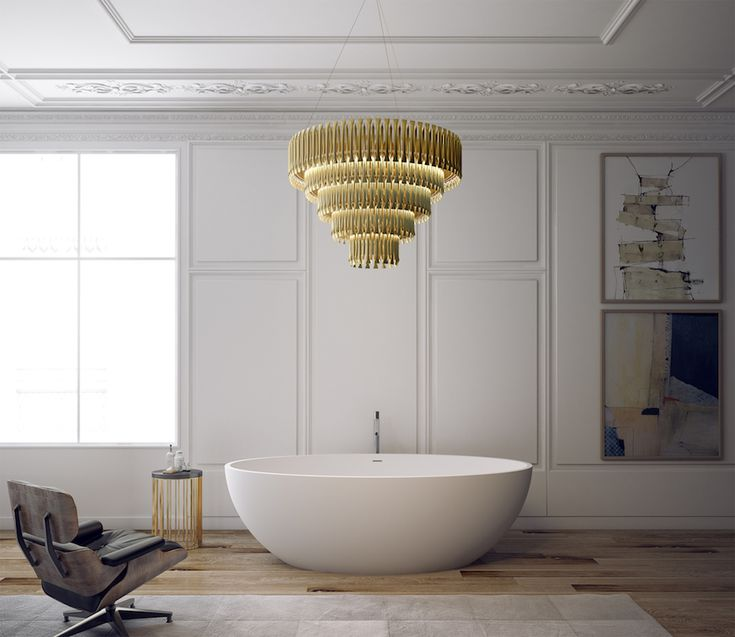 The bathtub might be simple and discreet, but the Matheny Suspension Light by @delightfull won't pass unnoticed with its outstanding vintage industrial design. 10 Lighting Design Ideas to Embellishing your Industrial Bathroom ➤To see more Luxury Bathroom ideas visit us at www.luxurybathrooms.eu #luxurybathrooms #homedecorideas #bathroomideas @BathroomsLuxury