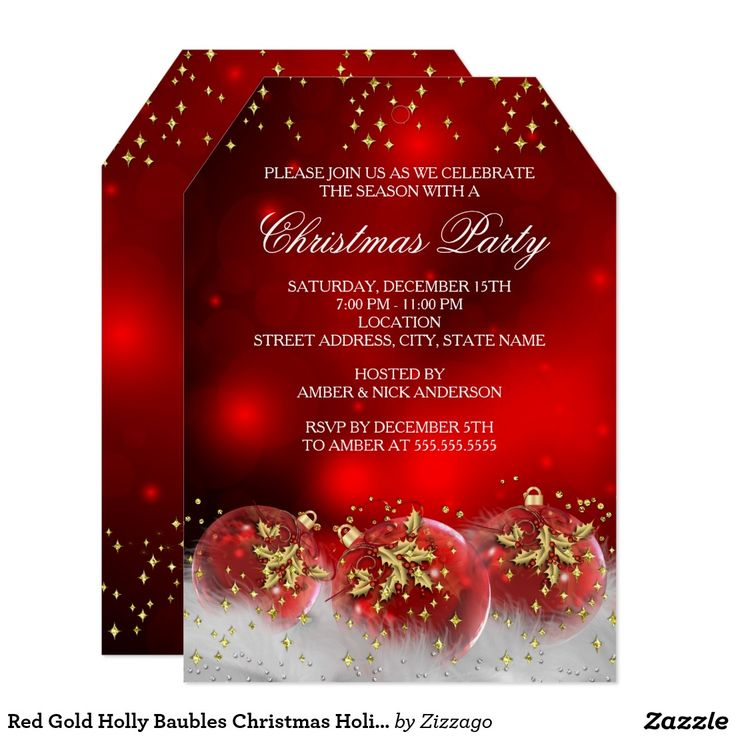 967 best christmas party invitations images on pinterest christmas red gold holly baubles christmas holiday party card m4hsunfo