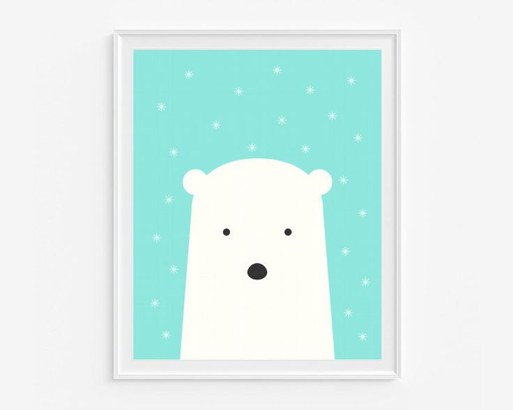 Polar bear nursery wall art- Printable art- Aqua and white kids room decor- Snow art- Instant download- 8x10 in digital pdf file- (A-266) by DeLierreKids on Etsy https://www.etsy.com/listing/196632262/polar-bear-nursery-wall-art-printable