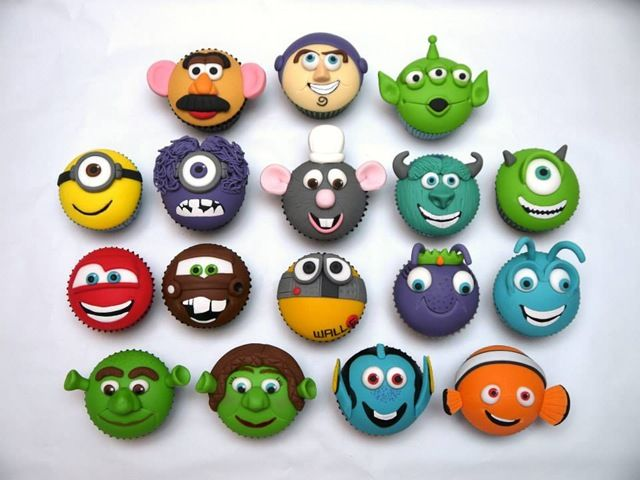 Adorable Cartoon Cupcakes made by hello babycakes
