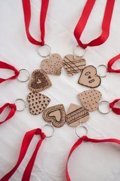 Etched Heart Keychains