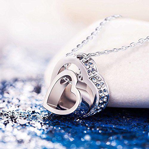 "Pauline & Morgen ""LOVE YOU FOREVER"" Engraved SWAROVSKI ELEMENTS Crystal Heart Women Necklace - Royal Hub"