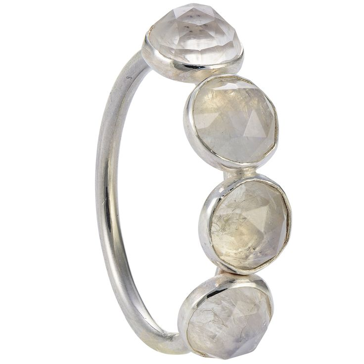 The rose cut natural chalcedony stones in this sterling ring are so mysterious that their shine cannot be caught in a photo. They seem to emit an inner milky blue light.  The stones are absolutely natural, with no colour enhancement treatment.  The size of the ring is satisfying and all four of this beautiful natural stones, in a substantial size, will adorn your hand gracefully.