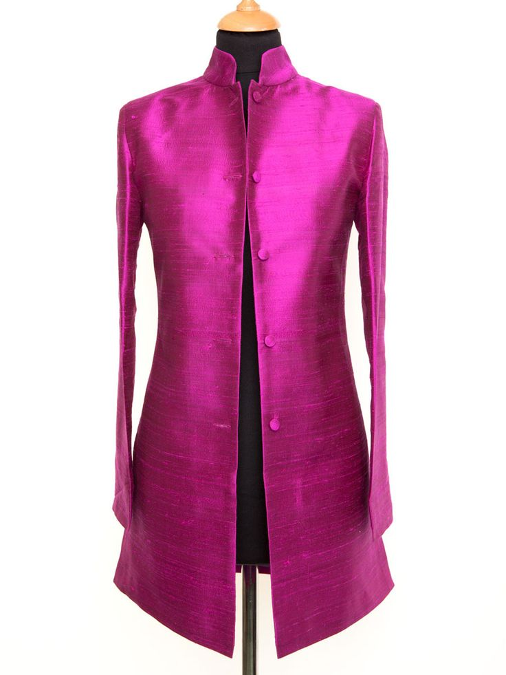 The Nehru Coat in Wild Orchid. This raw silk fuchsia pink fabric will brighten up any outfit, day time or evening. #silkjacket #nehru #fuchsiapink